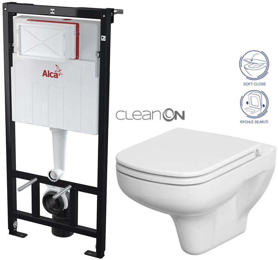AKCE/SET/ALCAPLAST - Sádromodul - predstenový inštalačný systém určený pre suchú inštaláciu 1,2 m + WC CERSANIT CLEANON COLOUR + SEDADLO (AM101/1120 X CN1)
