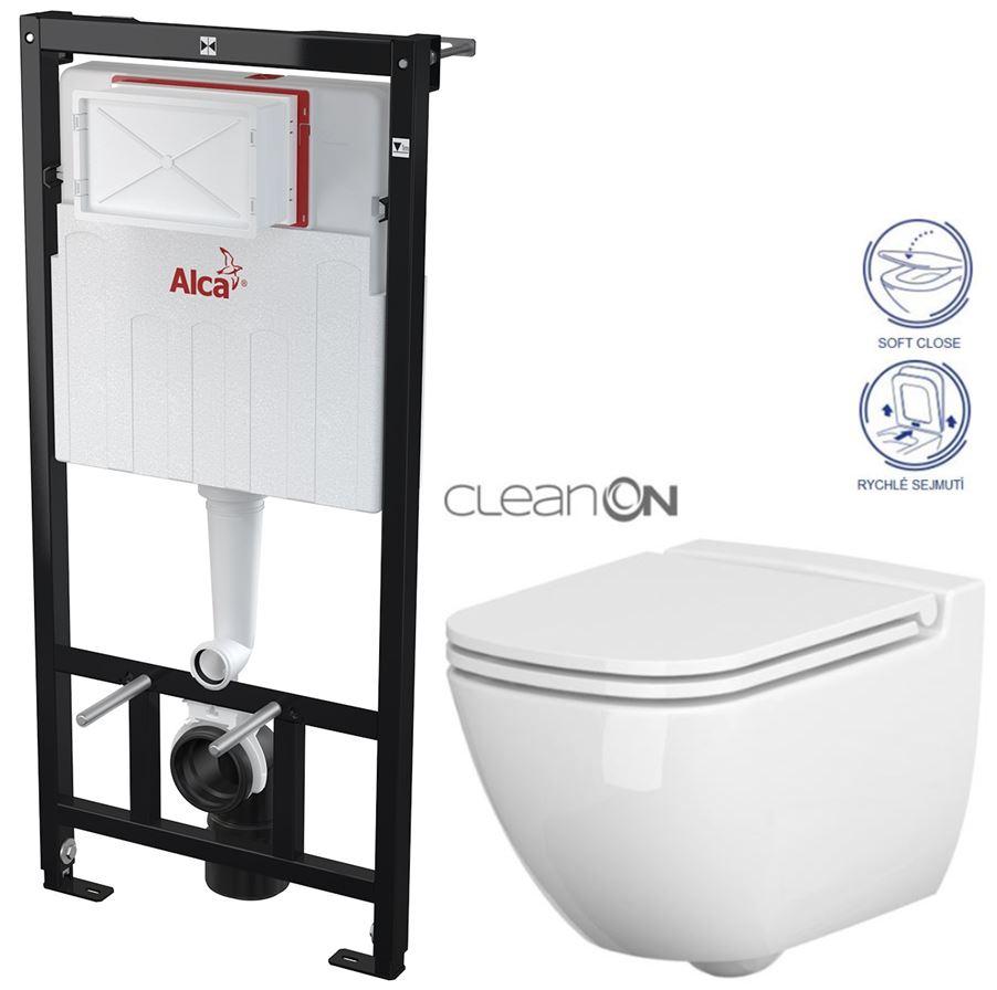 AKCE/SET/ALCAPLAST - Sádromodul - predstenový inštalačný systém určený pre suchú inštaláciu 1,2 m + WC CERSANIT CLEANON CASPIA + SEDADLO (AM101/1120 X CP1)