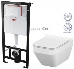 AKCE/SET/ALCAPLAST - Sádromodul - predstenový inštalačný systém určený pre suchú inštaláciu 1,2 m + WC CERSANIT CLEANON CREA ŠTVOREC + SEDADLO (AM101/1120 X CR2)
