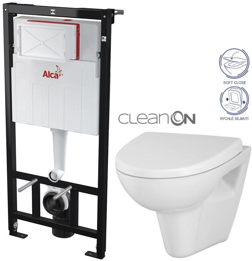 AKCE/SET/ALCAPLAST - Sádromodul - predstenový inštalačný systém určený pre suchú inštaláciu 1,2 m + WC CERSANIT CLEANON Parva + SEDADLO (AM101/1120 X PA1)
