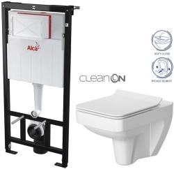 ALCAPLAST Sádromodul - predstenový inštalačný systém bez tlačidla + WC CERSANIT CLEANON SPLENDOUR + SEDADLO (AM101/1120 X SP1)