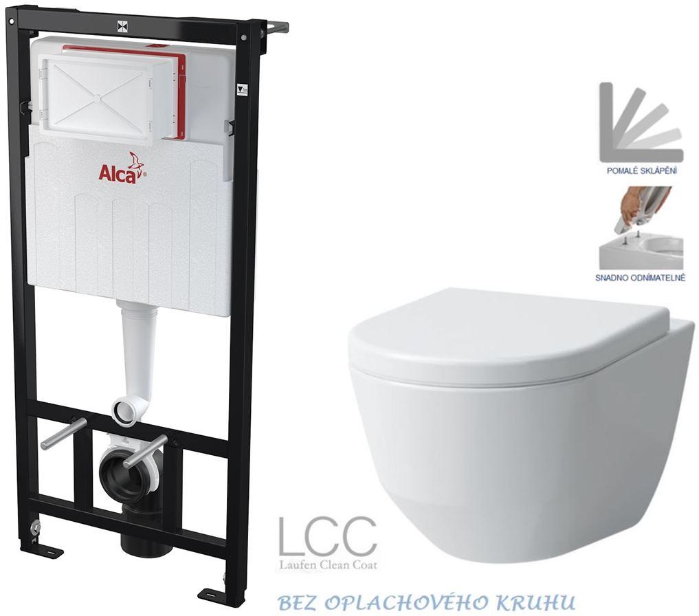 AKCE/SET/ALCAPLAST - Sádromodul - predstenový inštalačný systém určený pre suchú inštaláciu 1,2 m + WC LAUFEN PRO LCC RIMLESS + SEDADLO (AM101/1120 X LP2)