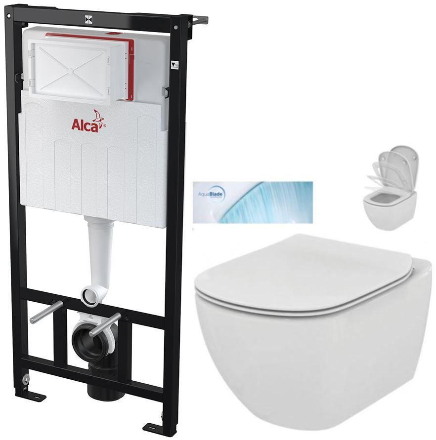 AKCE/SET/ALCAPLAST - Sádromodul - predstenový inštalačný systém určený pre suchú inštaláciu 1,2 m + WC TESI so sedadlom SoftClose, AquaBlade (AM101/1120 X TE1)