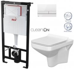 ALCAPLAST  Sádromodul - predstenový inštalačný systém s bielym tlačidlom M1710 + WC CERSANIT CLEANON COMO + SEDADLO (AM101/1120 M1710 CO1)