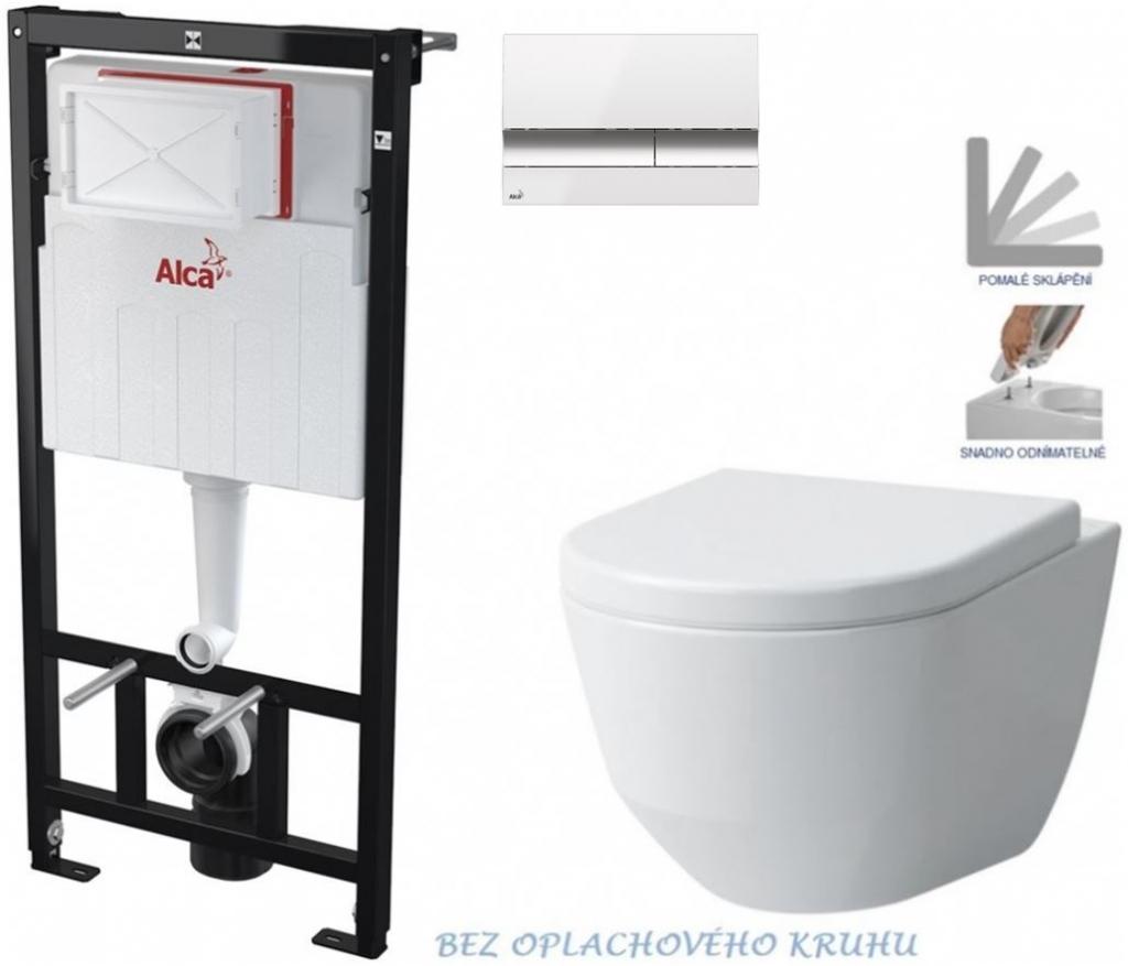 AKCE/SET/ALCAPLAST - Sádromodul - predstenový inštalačný systém + tlačidlo M1720-1 + WC LAUFEN PRO RIMLESS + SEDADLO (AM101/1120 M1720-1 LP1)