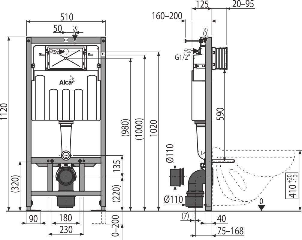 AKCE/SET/ALCAPLAST - Sádromodul - predstenový inštalačný systém + tlačidlo M1721 + WC CERSANIT CLEANON CARINA + SEDADLO (AM101/1120 M1721 CA2), fotografie 4/8