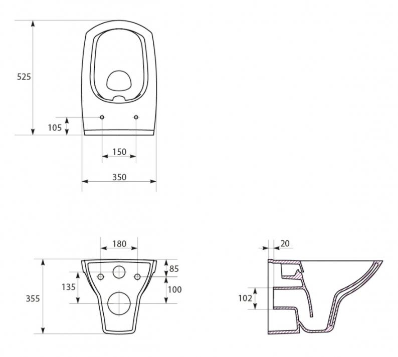 AKCE/SET/ALCAPLAST - Sádromodul - predstenový inštalačný systém + tlačidlo M1721 + WC CERSANIT CLEANON CARINA + SEDADLO (AM101/1120 M1721 CA2), fotografie 8/8