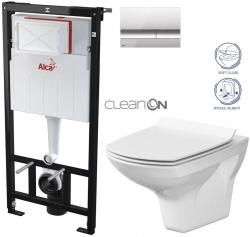 AKCE/SET - SET Sádromodul - předstěnový instalační systém + tlačítko M1721 + WC CERSANIT CLEANON CARINA + SEDÁTKO (AM101/1120 M1721 CA3)
