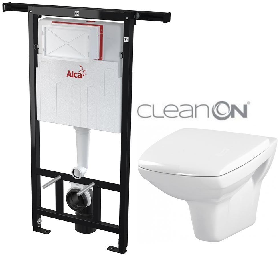 /SET/ALCAPLAST - Jádromodul - predstenový inštalačný systém + WC CERSANIT CLEANON CARINA (AM102/1120 X CA1)