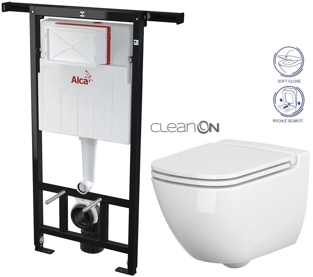 /SET/ALCAPLAST - Jádromodul - predstenový inštalačný systém + WC CERSANIT CLEANON CASPIA + SEDADLO (AM102/1120 X CP1)