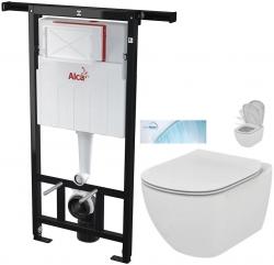 ALCAPLAST  Jádromodul - predstenový inštalačný systém bez tlačidla + WC Ideal Standard Tesi so sedadlom SoftClose, AquaBlade (AM102/1120 X TE1)