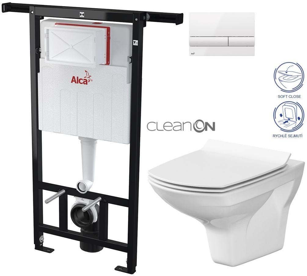 AKCE/SET/ALCAPLAST - Jádromodul - predstenový inštalačný systém + tlačidlo M1710 + WC CERSANIT CLEANON CARINA + SEDADLO (AM102/1120 M1710 CA3)