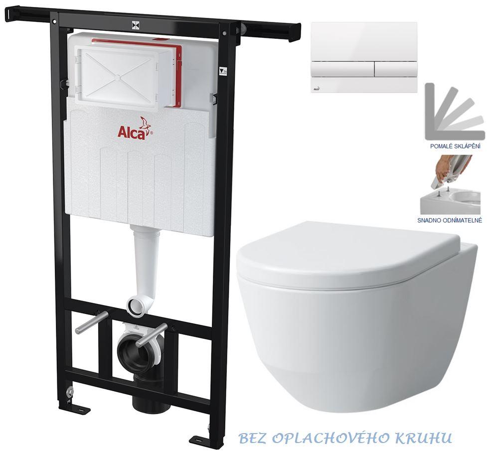 AKCE/SET/ALCAPLAST - Jádromodul - predstenový inštalačný systém + tlačidlo M1710 + WC LAUFEN PRO RIMLESS + SEDADLO (AM102/1120 M1710 LP1)