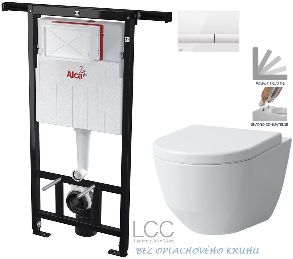 AKCE/SET/ALCAPLAST - Jádromodul - predstenový inštalačný systém + tlačidlo M1710 + WC LAUFEN PRO LCC RIMLESS + SEDADLO (AM102/1120 M1710 LP2)