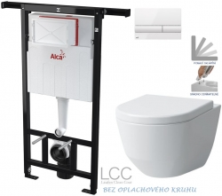 ALCAPLAST  Jádromodul - predstenový inštalačný systém s bielym tlačidlom M1710 + WC LAUFEN PRO LCC RIMLESS + SEDADLO (AM102/1120 M1710 LP2)