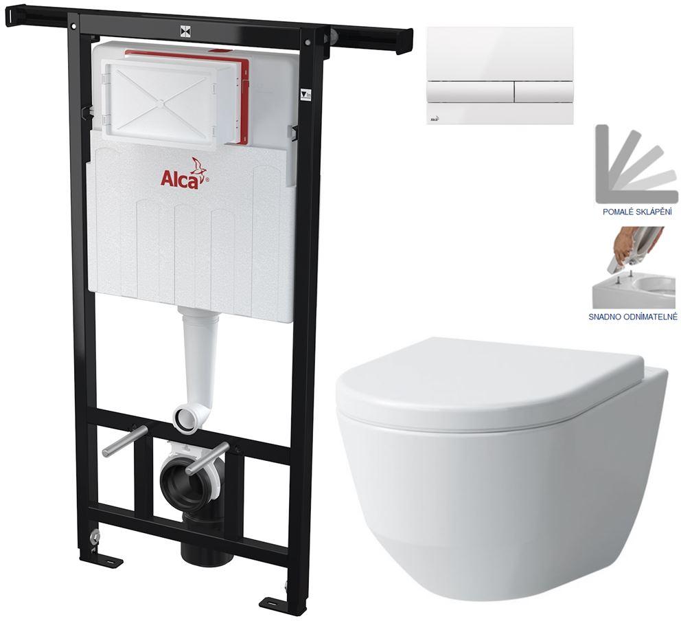 AKCE/SET/ALCAPLAST - Jádromodul - predstenový inštalačný systém + tlačidlo M1710 + WC LAUFEN PRO + SEDADLO (AM102/1120 M1710 LP3)