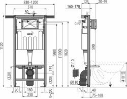 AKCE/SET/ALCAPLAST - Jádromodul - predstenový inštalačný systém + tlačidlo M1710 + WC CERSANIT CLEANON Parva + SEDADLO (AM102/1120 M1710 PA1), fotografie 4/9