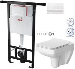 AKCE/SET/ALCAPLAST - Jádromodul - predstenový inštalačný systém + tlačidlo M1710 + WC CERSANIT CLEANON SPELNDOUR + SEDADLO (AM102/1120 M1710 SP1)