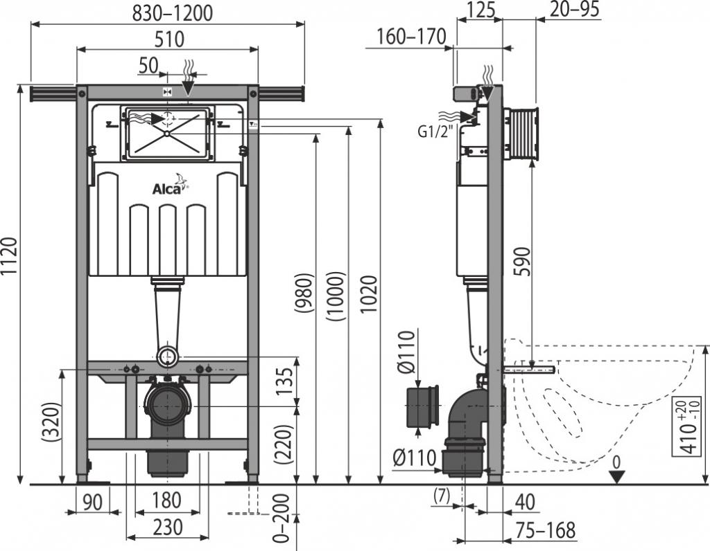 AKCE/SET/ALCAPLAST - Jádromodul - predstenový inštalačný systém + tlačidlo M1720-1 + WC CERSANIT CLEANON CARINA + SEDADLO (AM102/1120 M1720-1 CA1), fotografie 4/8