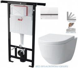 AKCE/SET/ALCAPLAST - Jádromodul - predstenový inštalačný systém + tlačidlo M1720-1 + WC LAUFEN PRO RIMLESS + SEDADLO (AM102/1120 M1720-1 LP1)