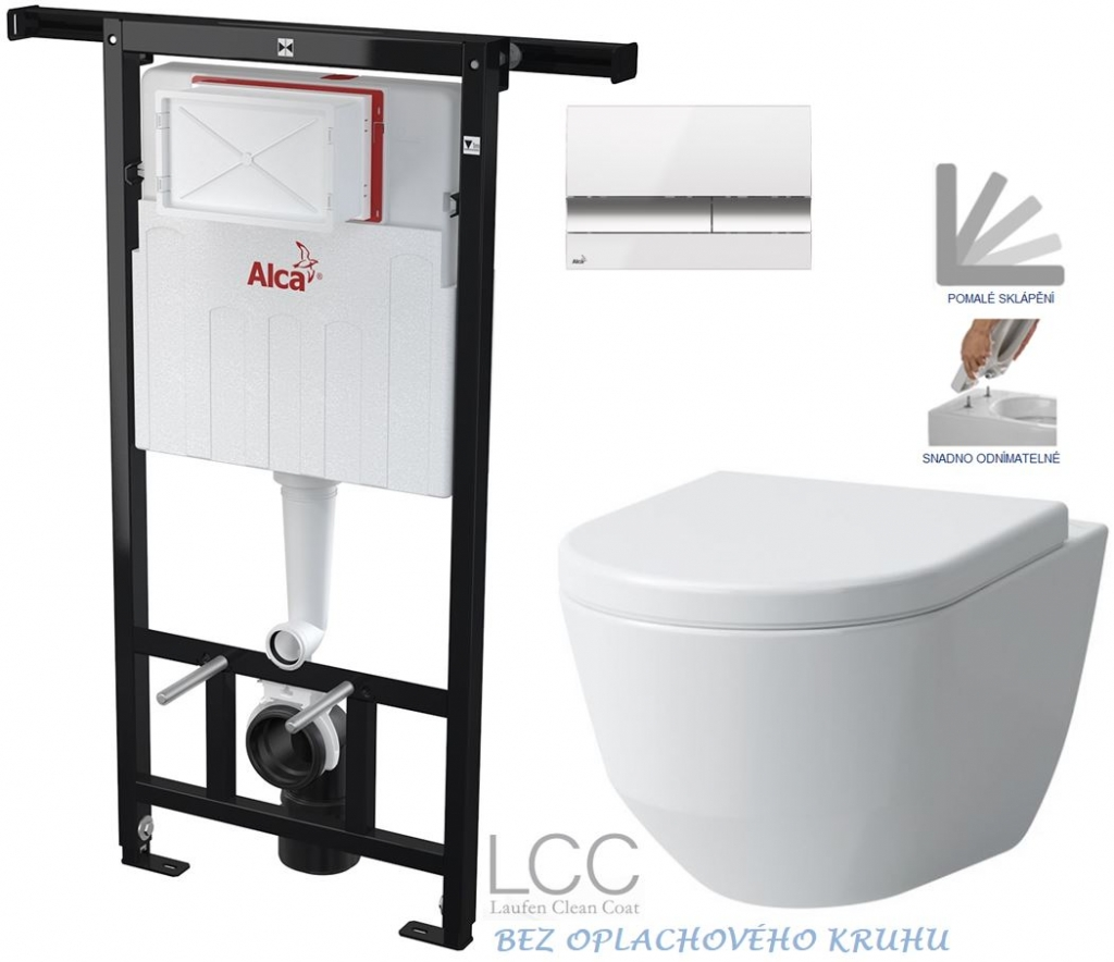 AKCE/SET/ALCAPLAST - Jádromodul - predstenový inštalačný systém + tlačidlo M1720-1 + WC LAUFEN PRO LCC RIMLESS + SEDADLO (AM102/1120 M1720-1 LP2)