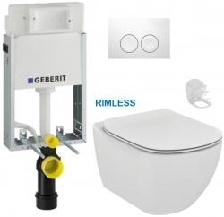 GEBERIT KOMBIFIXBasic vr. bieleho  tlačidla DELTA 21 + WC Ideal Standard Tesi se sedlem RIMLESS (110.100.00.1 21BI TE2)