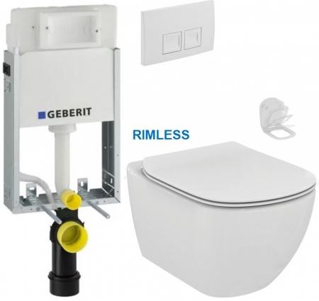 AKCE/SET/GEBERIT - KOMBIFIXBasic vrátane ovládacieho tlačidla DELTA 50 Biele pre závesné WC TESI RIMLESS (110.100.00.1 50BI TE2)