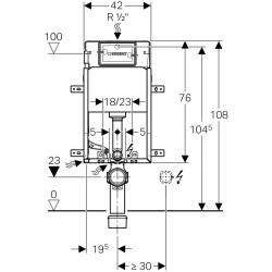 AKCE/SET/GEBERIT - KOMBIFIXBasic vrátane ovládacieho tlačidla DELTA 50 Biele pre závesné WC TESI RIMLESS (110.100.00.1 50BI TE2), fotografie 8/11