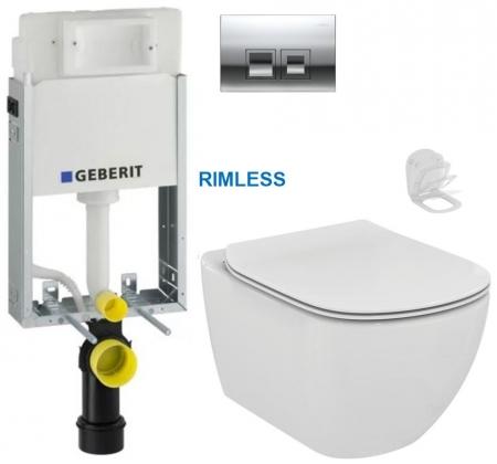 GEBERIT - SET KOMBIFIXBasic vrátane ovládacieho tlačidla DELTA 50 CR pre závesné WC TESI RIMLESS (110.100.00.1 50CR TE2)