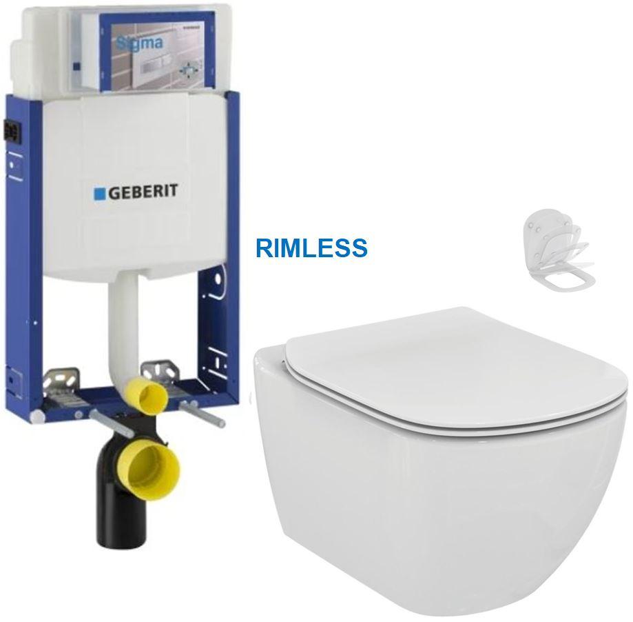 /SET/GEBERIT - Kombifix KOMBIFIX ECO pre závesné WC, nádržka UP 320 bez Ovládacie dosky + WC TESI RIMLESS (110.302.00.5 TE2)