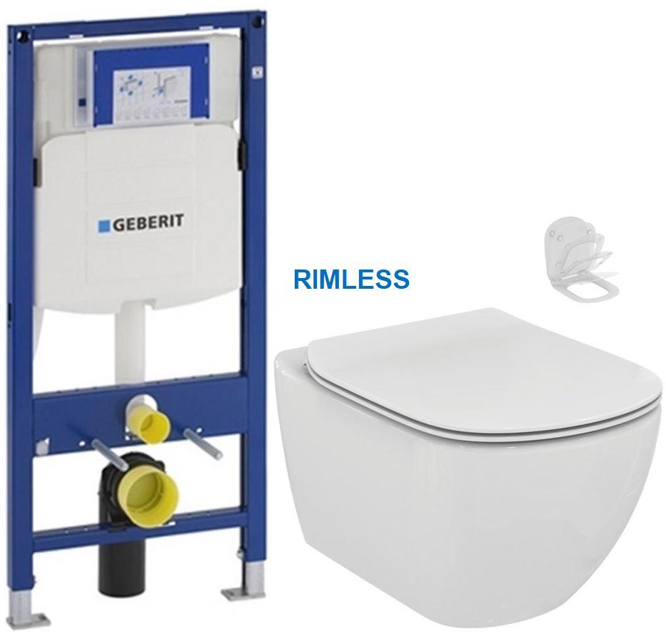 AKCE/SET/GEBERIT - Duofix pre závesné WC 111.300.00.5 bez ovládavý dosky + WC TESI RIMLESS (111.300.00.5 TE2)