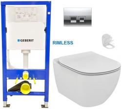 GEBERIT DuofixBasic s chrómovým tlačidlom DELTA50 + WC Ideal Standard Tesi se sedlem RIMLESS (458.103.00.1 50CR TE2)