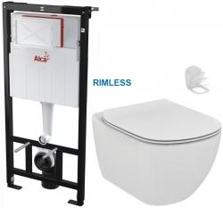 ALCAPLAST Sádromodul - predstenový inštalačný systém bez tlačidla + WC Ideal Standard Tesi se sedlem RIMLESS (AM101/1120 X TE2)