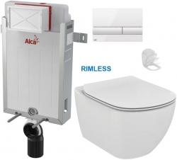 ALCAPLAST  Renovmodul - predstenový inštalačný systém s bielym tlačidlom M1710 + WC Ideal Standard Tesi se sedlem RIMLESS (AM115/1000 M1710 TE2)
