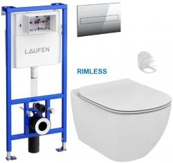 LAUFEN Rámový podomietkový modul CW1 SET s chrómovým tlačidlom + WC Ideal Standard Tesi se sedlem RIMLESS (H8946600000001CR TE2)