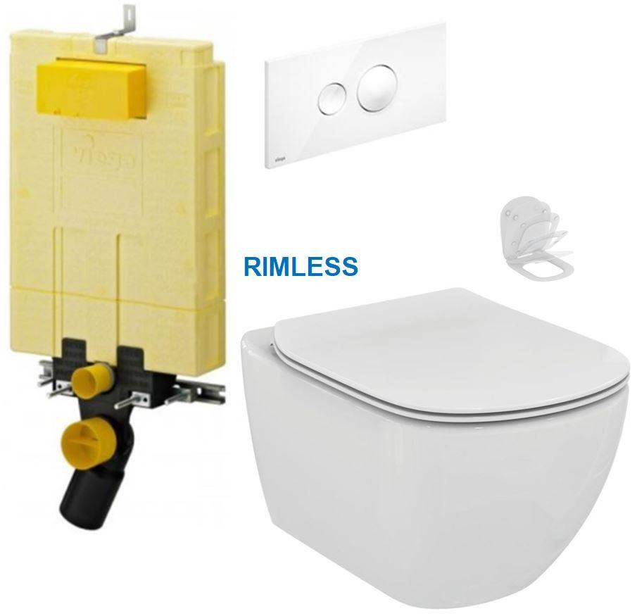 /SET/VIEGA - MONO modul WC čelné ovládanie + ovládacie tlačidlo BIELE + WC TESI RIMLESS (V606732BI TE2)