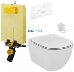 AKCE/SET/VIEGA - MONO modul WC čelné ovládanie + ovládacie tlačidlo BIELE + WC TESI RIMLESS (V606732BI TE2)