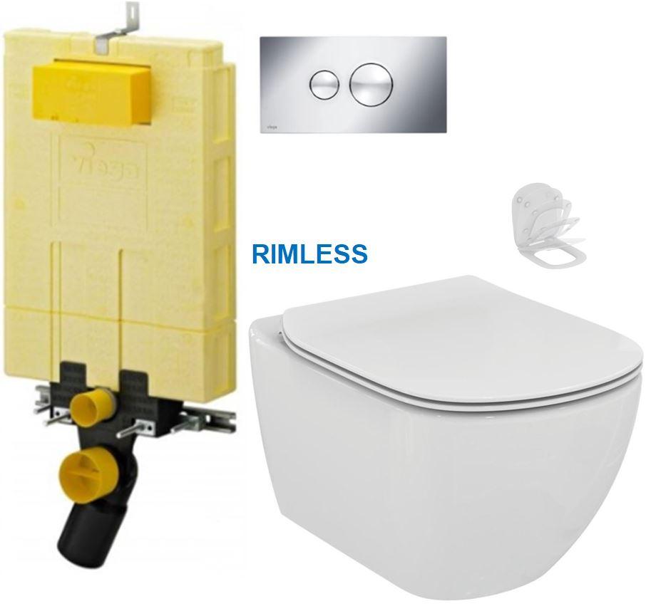 /SET/VIEGA - MONO modul WC čelné ovládanie + ovládacie tlačidlo CHRÓM + WC TESI RIMLESS (V606732CR TE2)