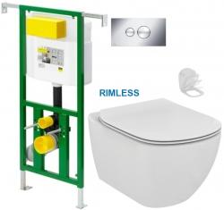 AKCE/SET/VIEGA - Eko PLUS modul do jadra WC čelnej ovládanie SET CHRÓM + ovládacie tlačidlo CHRÓM + WC TESI RIMLESS (V622176CR TE2)