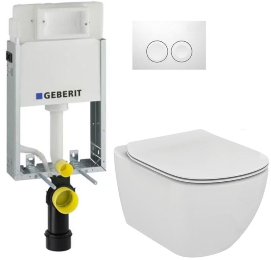 AKCE/SET/GEBERIT - GEBERIT - KOMBIFIXBasic vrátane ovládacieho tlačidla DELTA 21 Biele pre závesné WC TESI (110.100.00.1 21BI TE3)