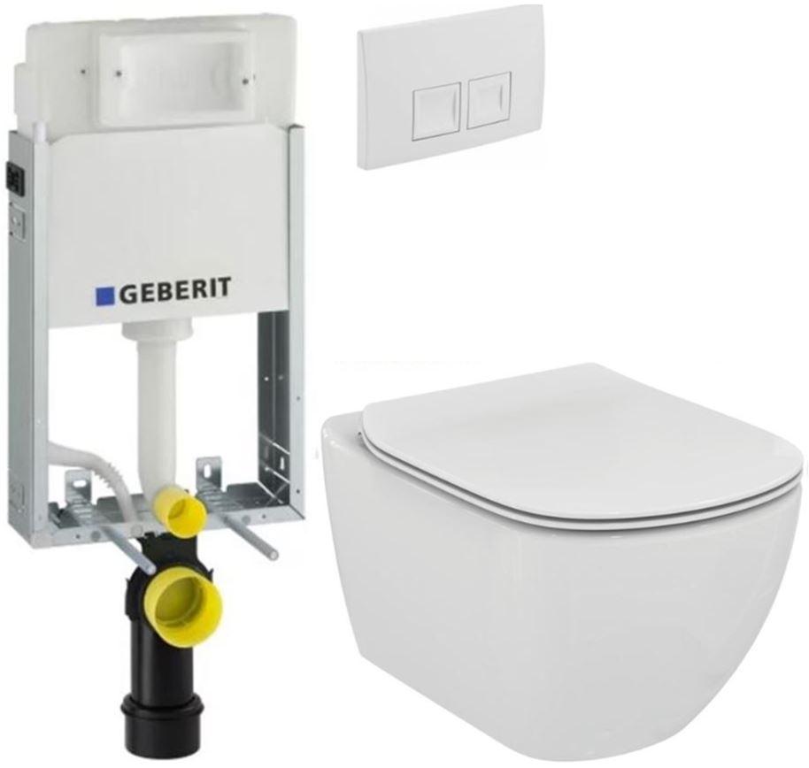 AKCE/SET/GEBERIT - GEBERIT - KOMBIFIXBasic vrátane ovládacieho tlačidla DELTA 50 Biele pre závesné WC TESI (110.100.00.1 50BI TE3)