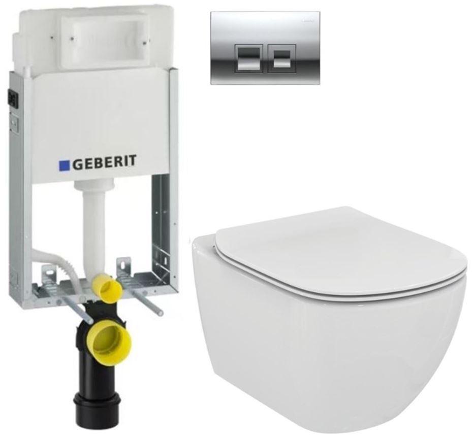 AKCE/SET/GEBERIT - GEBERIT - KOMBIFIXBasic vrátane ovládacieho tlačidla DELTA 50 CR pre závesné WC TESI (110.100.00.1 50CR TE3)