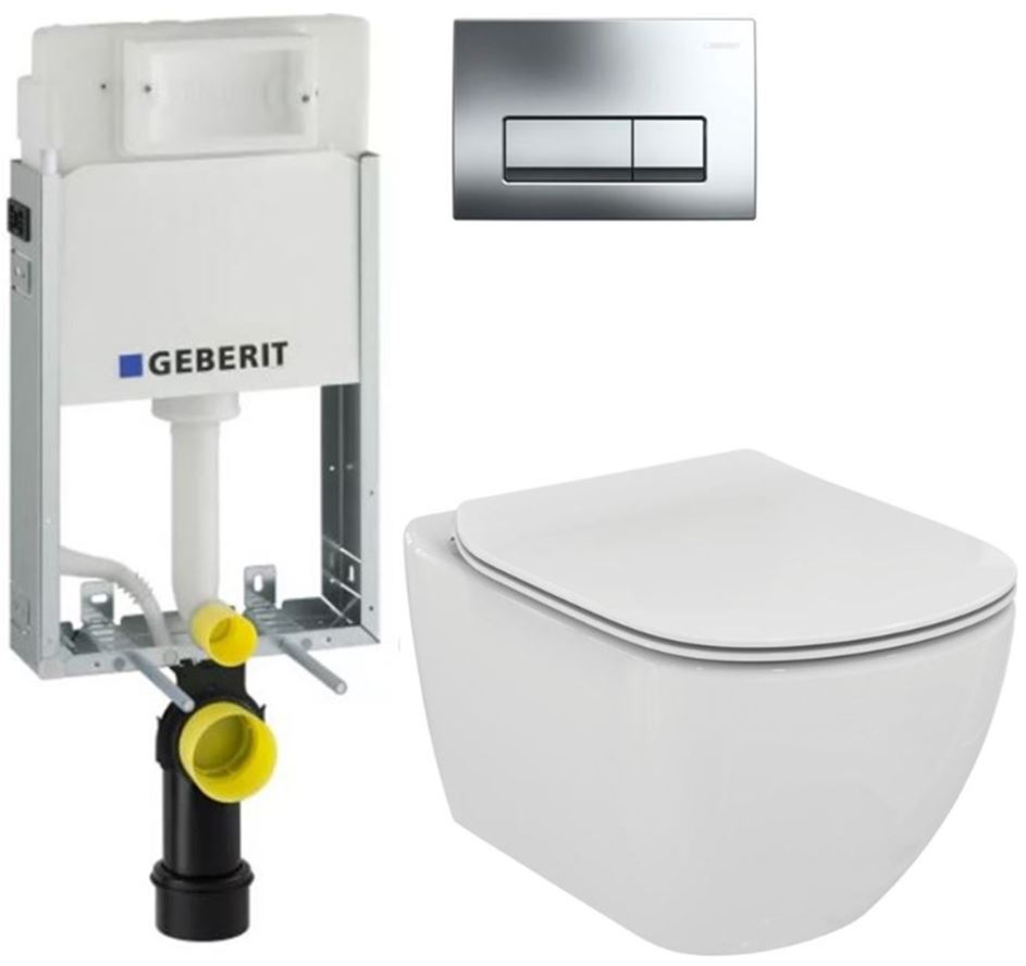 AKCE/SET/GEBERIT - GEBERIT - KOMBIFIXBasic vrátane ovládacieho tlačidla DELTA 51 CR pre závesné WC TESI (110.100.00.1 51Cr TE3)
