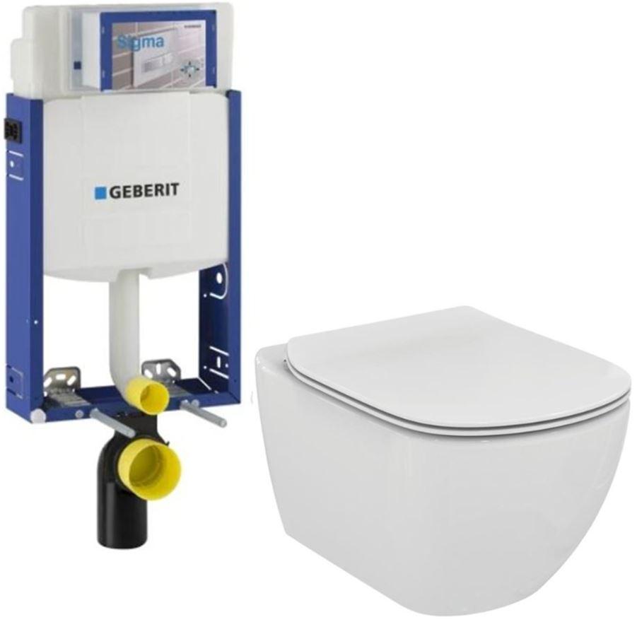 /SET/GEBERIT - Kombifix KOMBIFIX ECO pre závesné WC, nádržka UP 320 bez Ovládacie dosky + WC TESI (110.302.00.5 TE3)