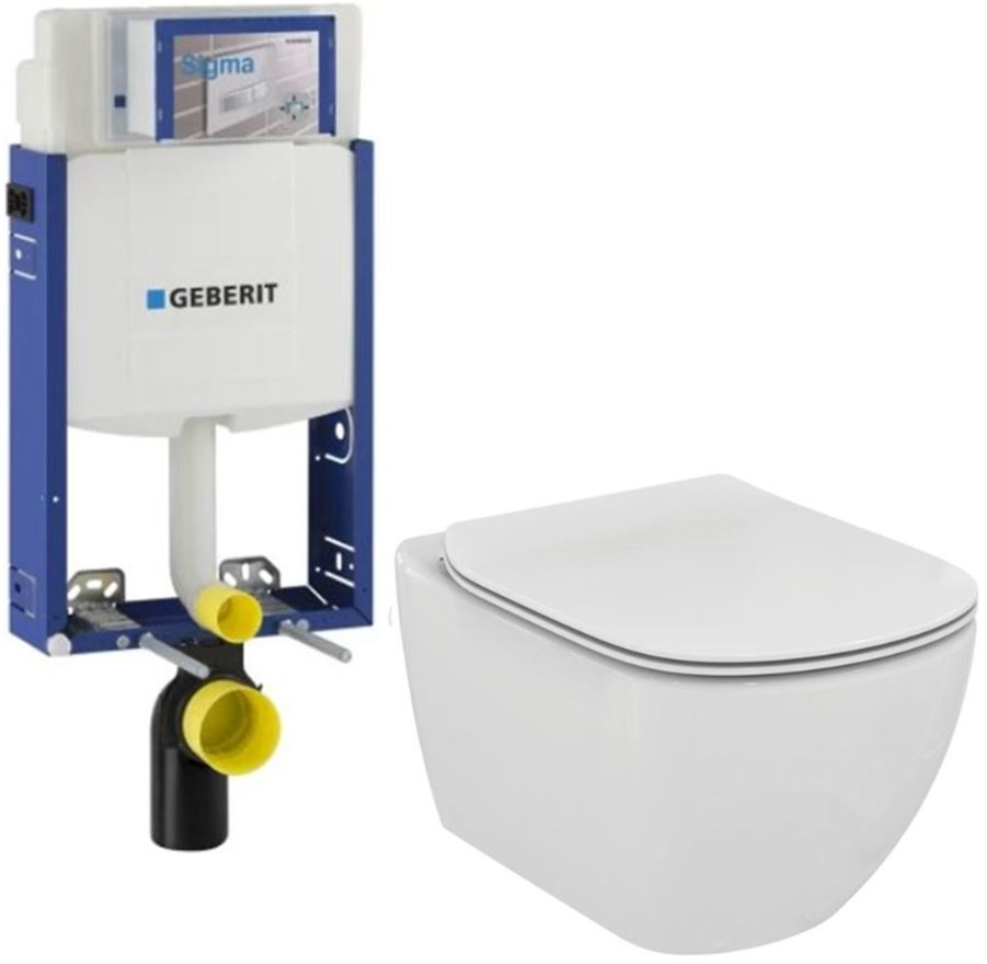 AKCE/SET/GEBERIT - Kombifix KOMBIFIX ECO pre závesné WC, nádržka UP 320 bez Ovládacie dosky + WC TESI (110.302.00.5 TE3)