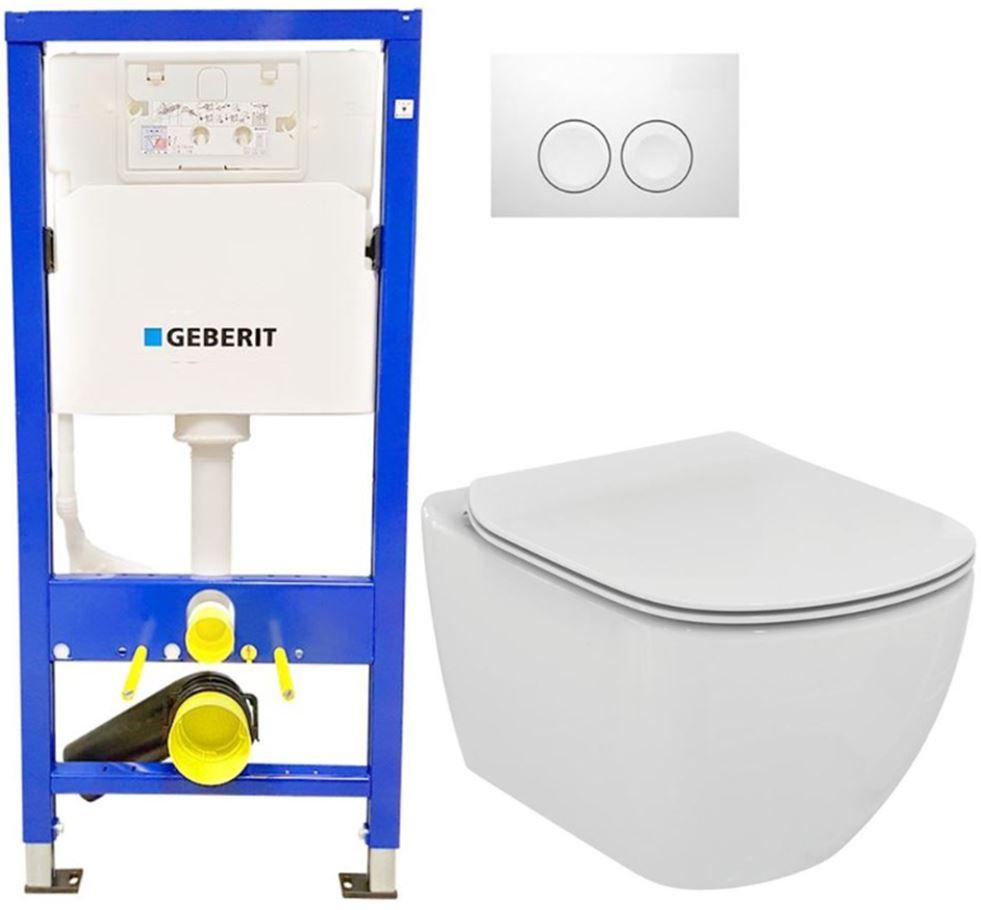 /SET/GEBERIT - SET Duofix Sada pre závesné WC 458.103.00.1 + tlačidlo DELTA21 biele + WC TESI (458.103.00.1 21BI TE3)