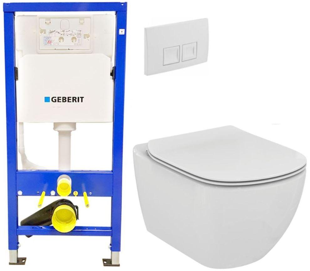 /SET/GEBERIT - SET Duofix Sada pre závesné WC 458.103.00.1 + tlačidlo DELTA50 biele + WC TESI (458.103.00.1 50BI TE3)