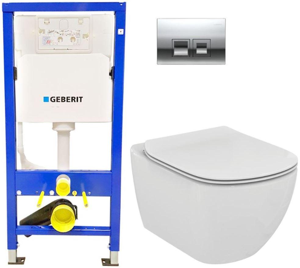 /SET/GEBERIT - SET Duofix Sada pre závesné WC 458.103.00.1 + tlačidlo DELTA50 CHRÓM + WC TESI (458.103.00.1 50CR TE3)
