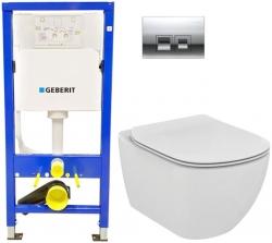 AKCE/SET/GEBERIT - SET Duofix Sada pre závesné WC 458.103.00.1 + tlačidlo DELTA50 CHRÓM + WC TESI (458.103.00.1 50CR TE3)