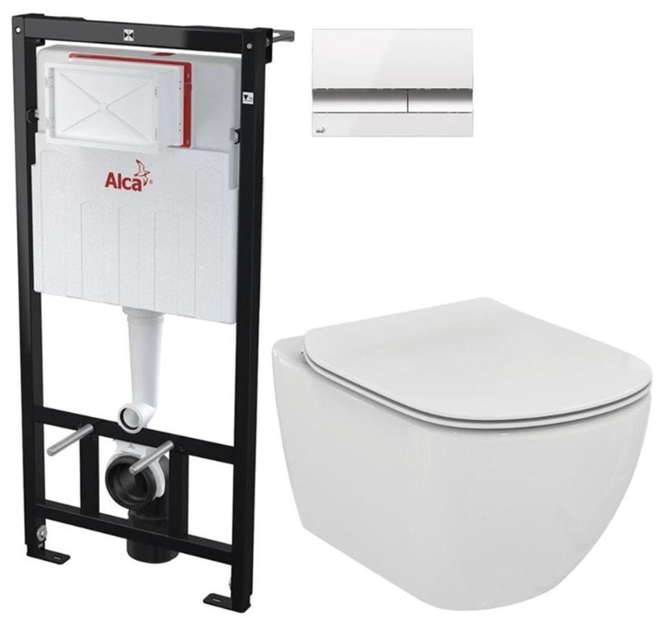 AKCE/SET/ALCAPLAST - Sádromodul - predstenový inštalačný systém + tlačidlo M1720-1 + WC TESI (AM101/1120 M1720-1 TE3)
